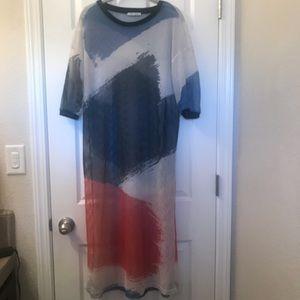 Abstract Printed Mesh Dress